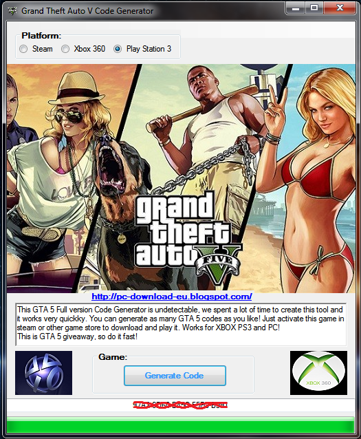Generate up to five free keys for GTA V