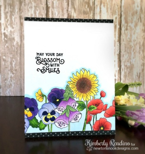 Flower card by Kimberly Rendino | Flower Garden Stamp set by Newton's Nook Designs #newtonsnook