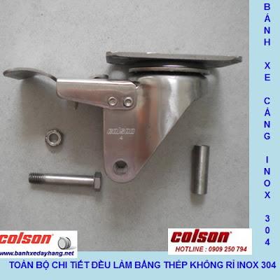 Bánh xe Nylon phi 75 không xoay càng inox 304 Colson | 2-3308SS-254 banhxedayhang.net