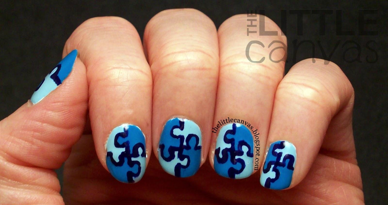 Autism Awareness - Puzzle Piece Manicure: Take 2 - The Little Canvas