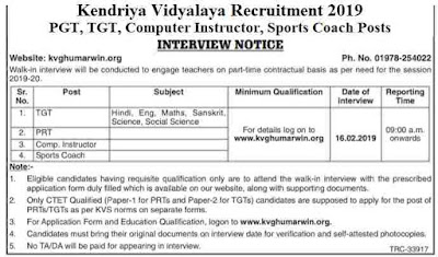 KVS Recruitment 2019