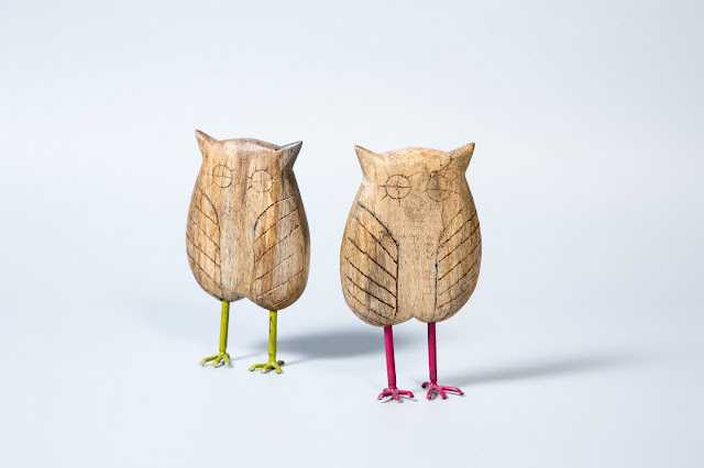 Wooden Owl with Metal leg