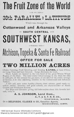 Newspaper ad for railroad land in Kansas