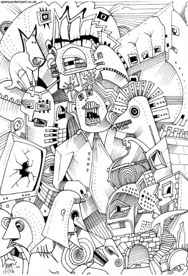hand-drawn surrealist automatism artwork