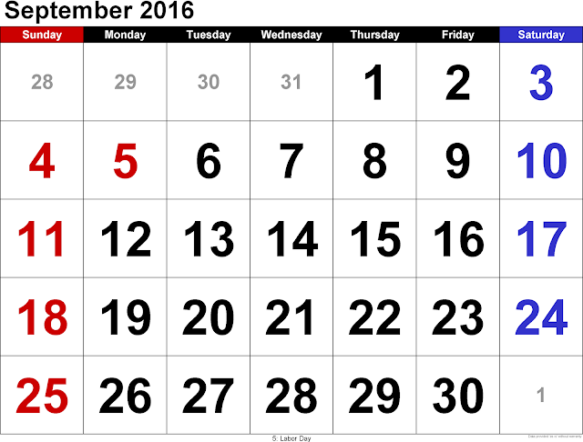 September 2016 Calendar Canada, September 2016 Calendar Canada Holidays, September 2016 Canada Calendar