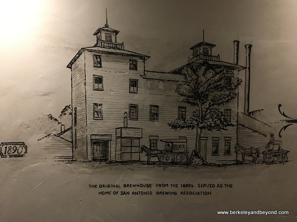 drawing of the original Pearl's Brewhouse, now Southerleigh Fine Food and Brewery, in San Antoniio, Texas