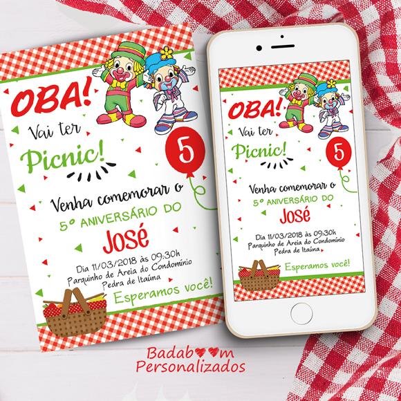 convite, digital, arte, picnic, piquenique, patati patatá, festa, infantil