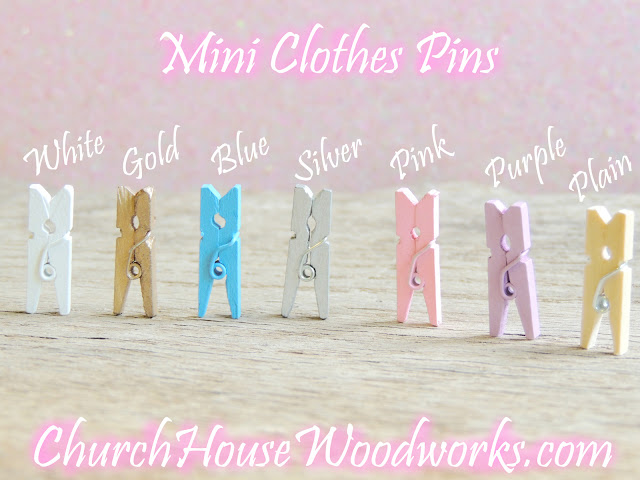 Mini Clothes Pins- Plain, White, Blue, Silver, Purple, Pink and Gold