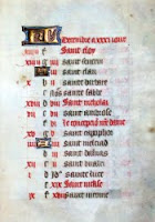 Glassgow Hours folio 13r: calendar page for December
