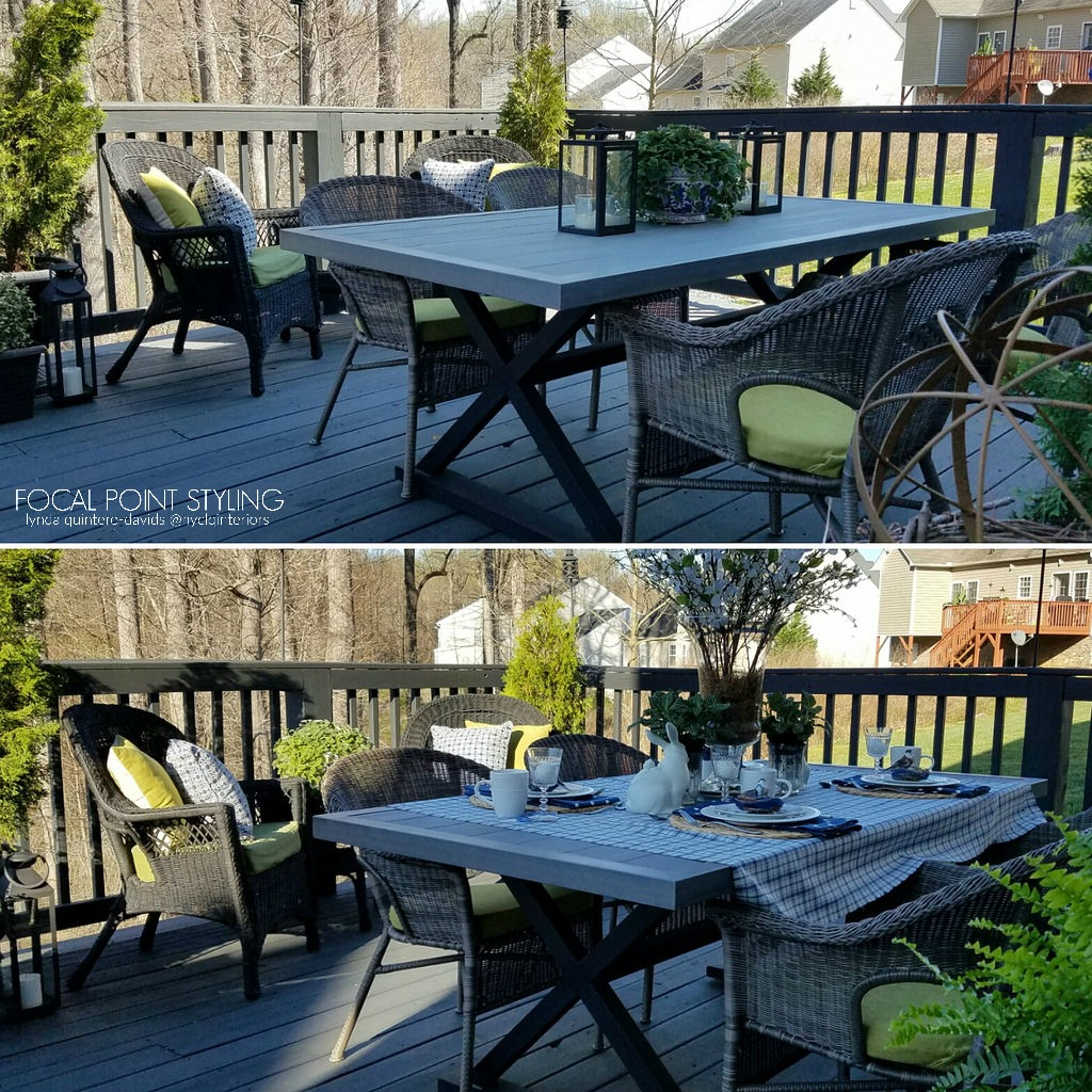 Good I ull post a few other tablescapes next this was just a quick Spring Easter brunch alfresco set outside on the deck The table I refinished last year