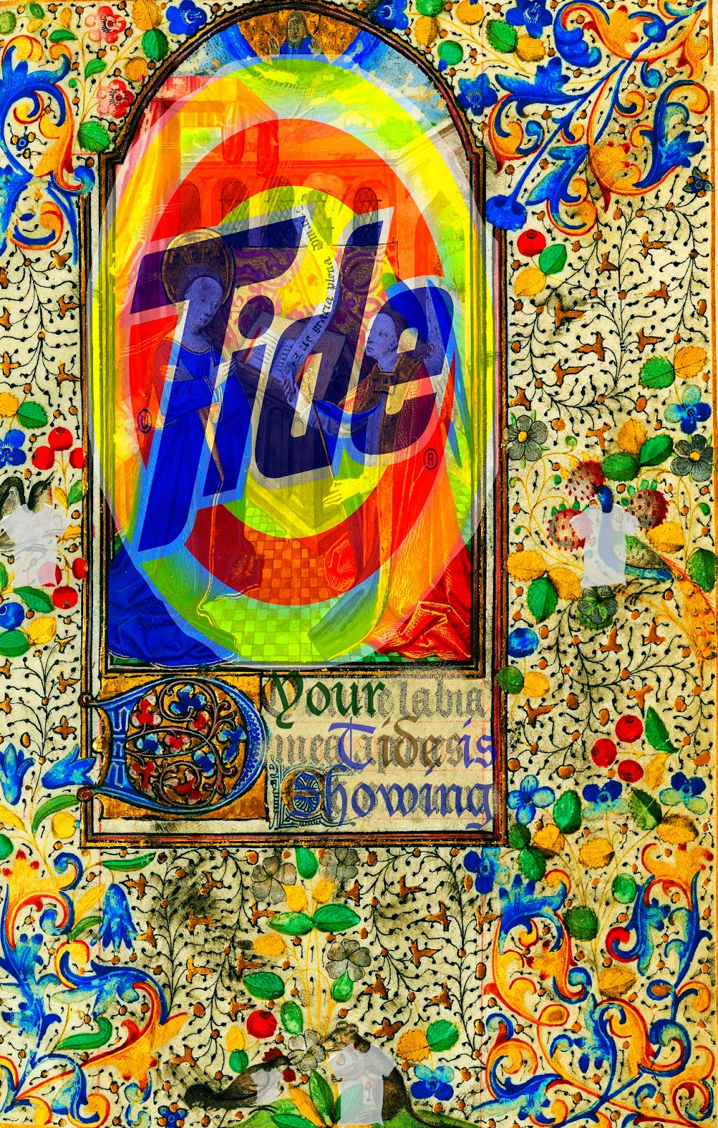 An image of a medieval manuscript page overlaid with the Tide logo.