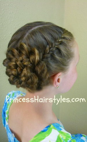 prom hairstyles, braided rose updo
