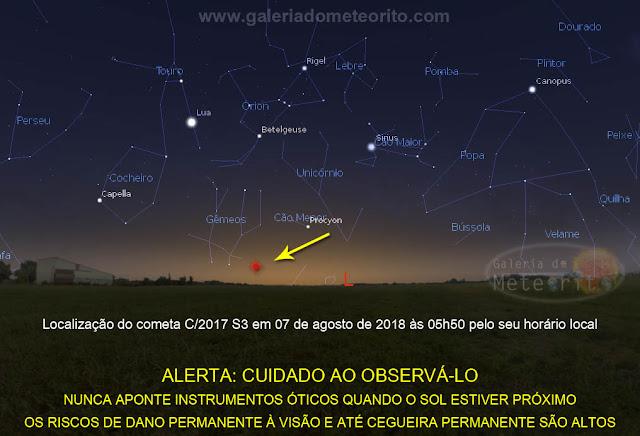 localização do cometa verde C/2017 S3 no céu
