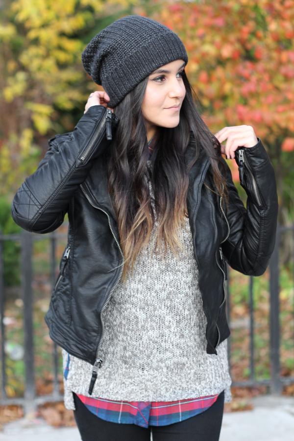 Jessica Lemos jess jesslemos abercrombie & fitch #afstlist leather tatum jacket flannel sweater ombre wavy hair beanie