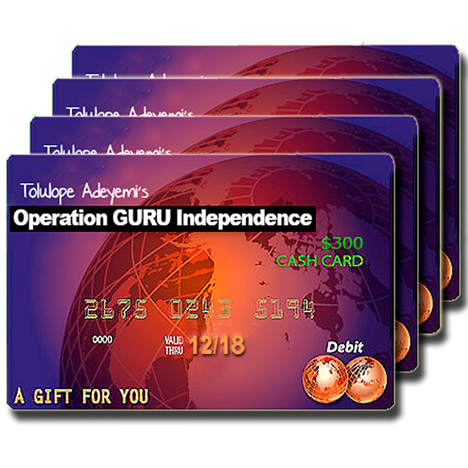 Free $300 Gift Cards Giveaway Courtesy Tolulope Adeyemi @toluaddy's Operation GURU Independence