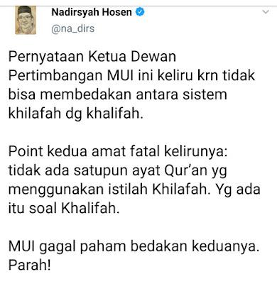 Din Syamsuddin Sebut Khilafah Ada dalam Al Quran, Gus Nadir : Gagal Paham, Parah !