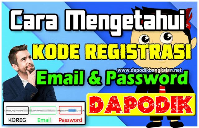 Cara Mengetahui Email, Password dan KODE REGISTRASI Dapodik