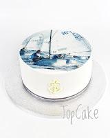 Purjevenekakku, ankkuri, täytekakku, suklaakakku, kuvakakku, meriaiheinen kakku, topcake, syntymäpäiväkakku,