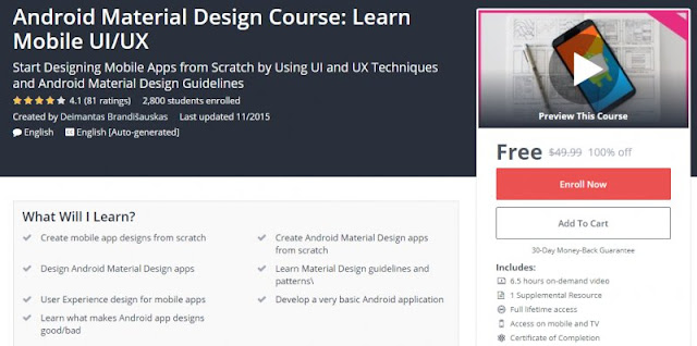 [100% Off] Android Material Design Course: Learn Mobile UI/UX| Worth 49,99$