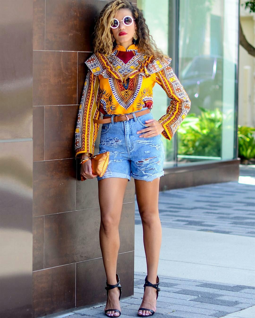 Dressing des 4 Saisons Zuvaa African style Dashiki jaune Concours