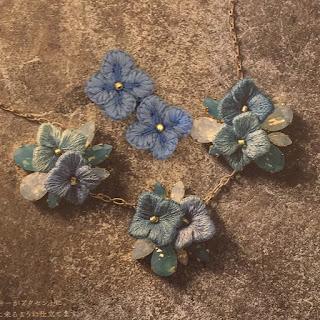 embroidery,立体刺繍,紫陽花