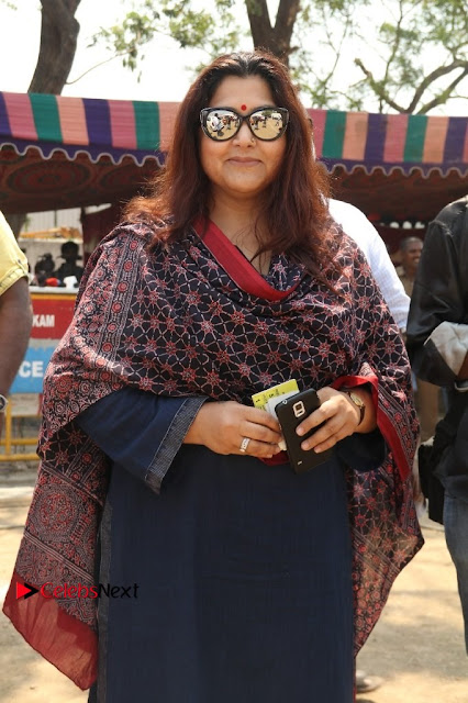 Actress Kushboo Pos in Blue Salwar Kameez at Producer Council Election 2017  0001.jpg