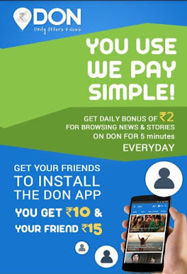 DON App-Rs.10 on Singup and Rs.15 per Refer