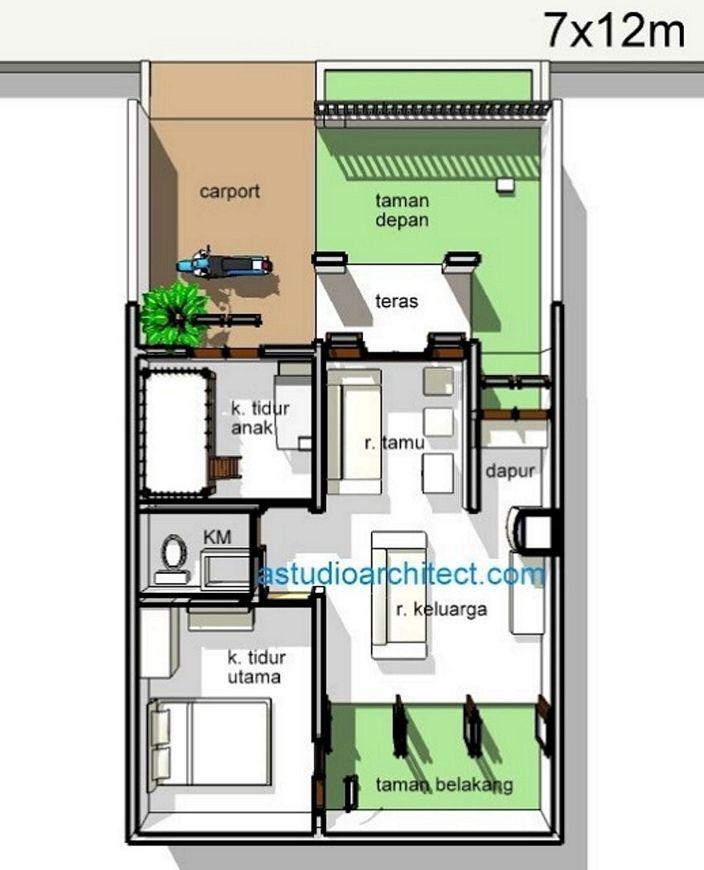 denah rumah minimalis sederhana 7x12m yang terkini