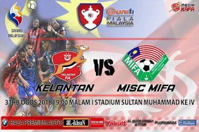 Live Streaming Kelantan vs MIFA Piala Malaysia 31.8.2018