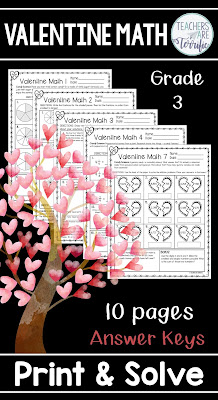 Valentine themed math worksheets just for grade 3. Each includes a science based fact and features fractions. Includes answer keys!