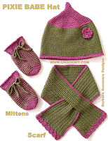 crochet patterns, hats, pixie hats, baby, mittens, scarf,