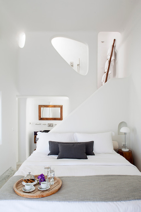 Modern country design inspiration | Image of Native Eco Villa in Santorini via Villas of Distinction.