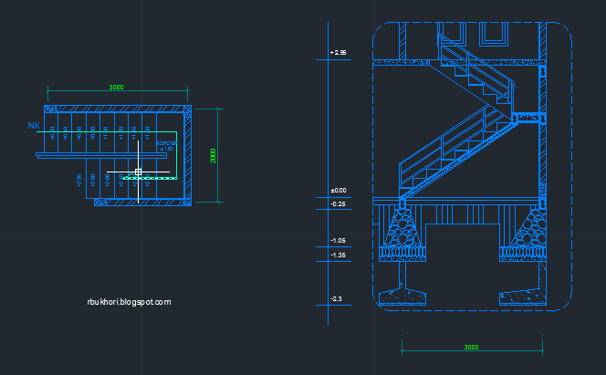 Contoh denah dan detail tangga autoCAD nya dwg