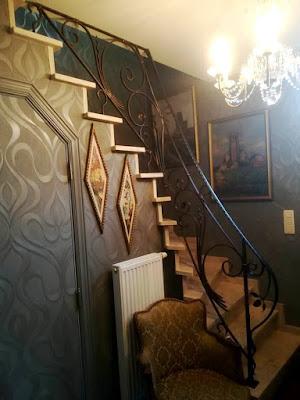 trapleuning, smeedijzer, fer forgé, rampe d' escalier