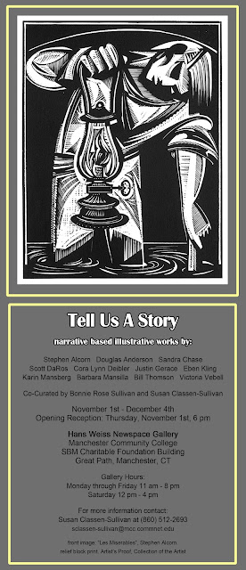 Postcard promotional image for current show at Hans Weiss Newspace Gallery, C. L. Deibler, illustration