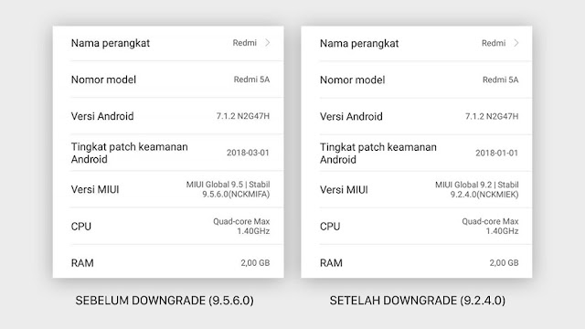 Downgrade MIUI 9.5 via Mi Recovery (Updater) Xiaomi Tanpa PC