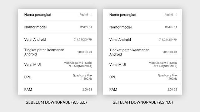 Downgrade MIUI 9.5 via Mi Recovery (Updater) Xiaomi Tanpa PC