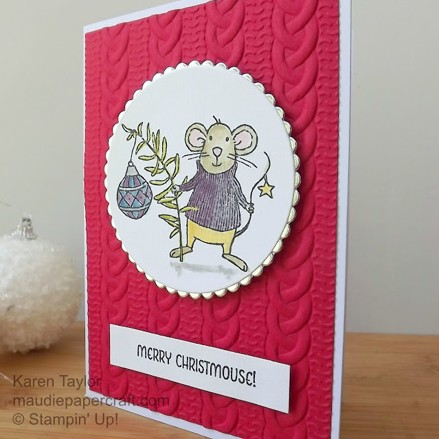 Stampin' Up! Merry Mice Christmas card with Cable Knit embossing folder