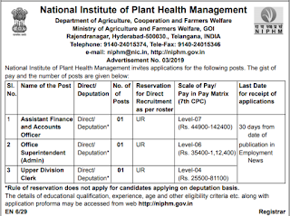 National Institute of Plant Health Management Recruitment 2019