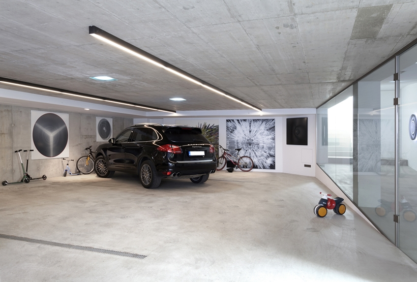 Garage in Ultra Modern House by architekti.sk, Slovakia