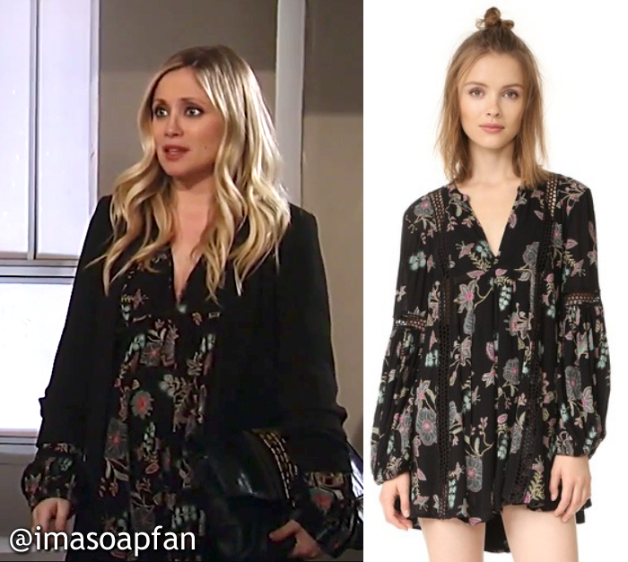 Lulu Spencer Falconeri, Emme Rylan, Black, Blue, and Pink Floral Print Tunic Dress, Free People, GH, General Hospital