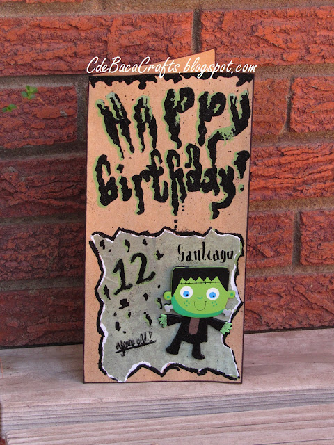 Handmade Happy Birthday Goosebump Card for kids by CdeBaca Crafts.