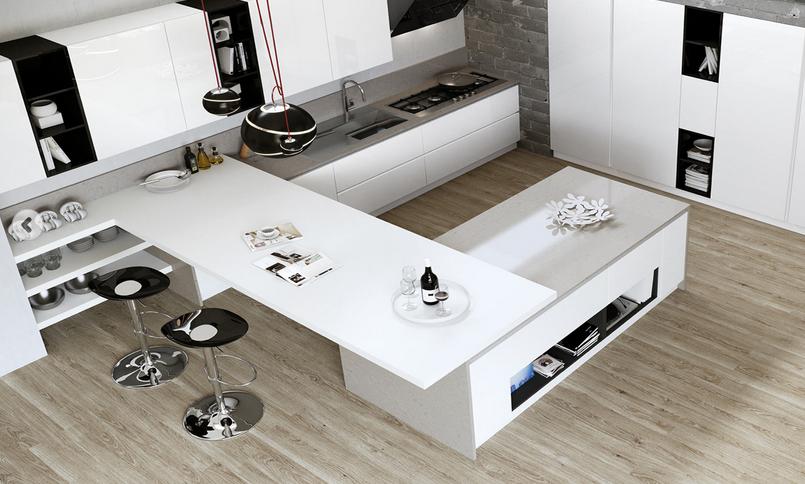 20 formas de incorporar una mesa en la cocina cocinas for Mesa trabajo cocina