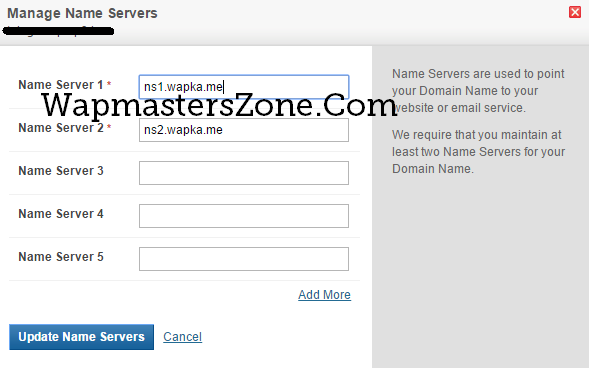 wapka nameservers bigrock domain