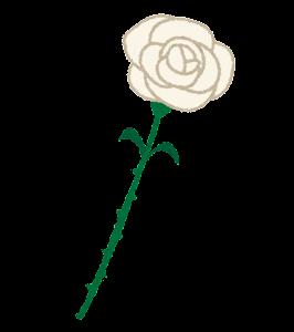 いろいろな一輪のバラの花のイラスト(白)