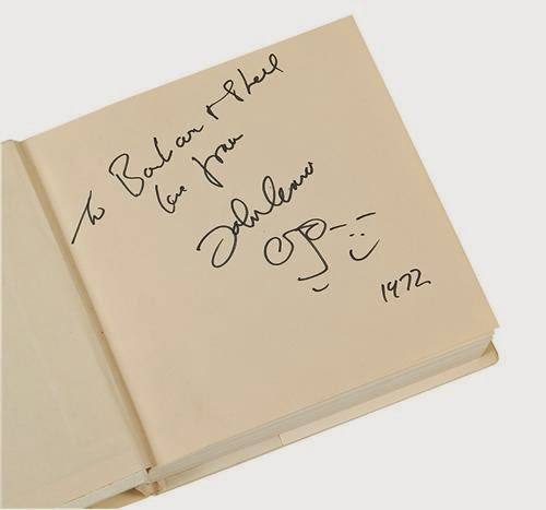 The Glass Onion Beatles Journal Artifact John Lennon Doodle And Autograph In Copy Of Yoko Ono Grapefruit Book