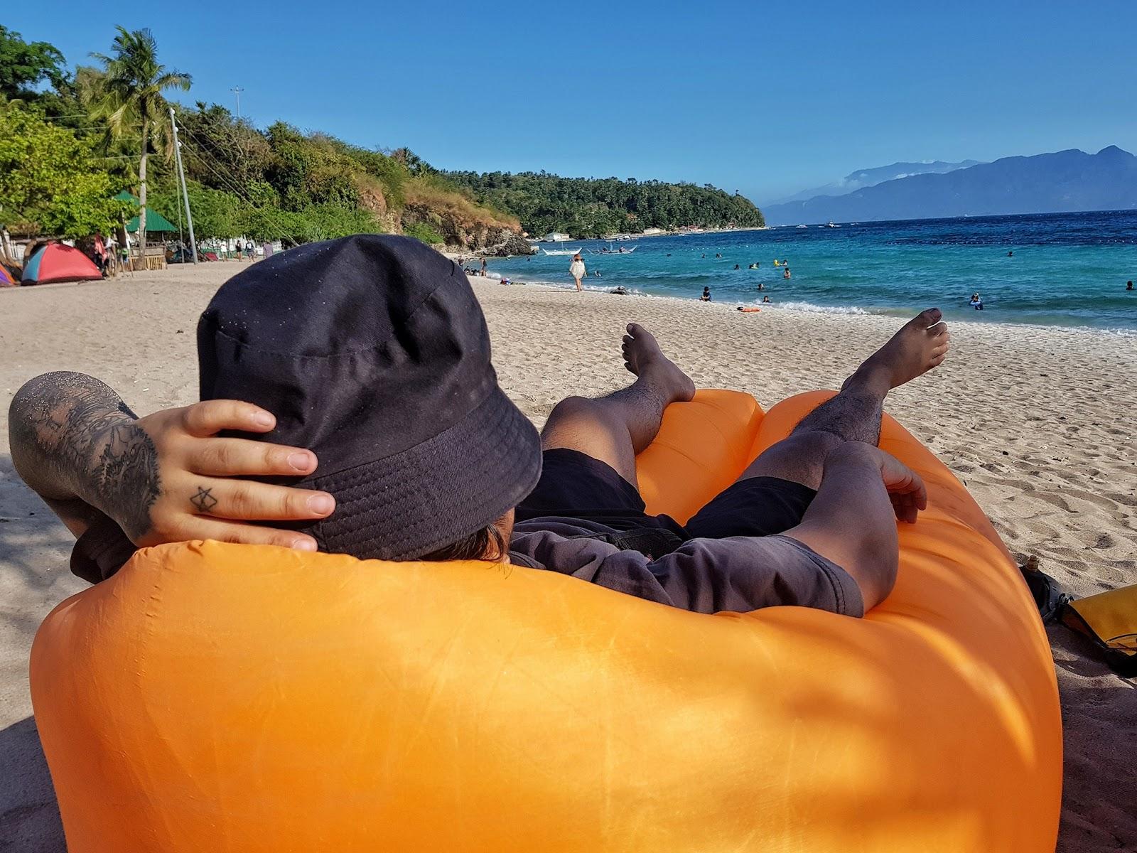 Lem, enjoying Masasa Beach