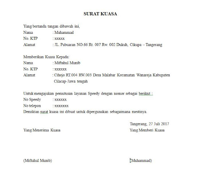 Contoh Surat Kuasa untuk Pemberhentian Indihome atau Telkom Speedy