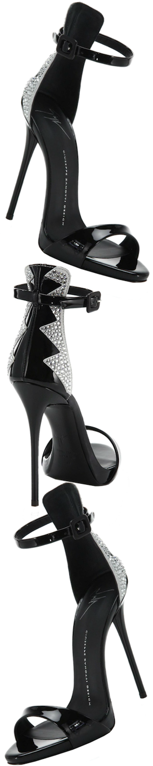 Giuseppe Zanotti Zig-Zag Crystal-Patterned Patent Leather Sandals