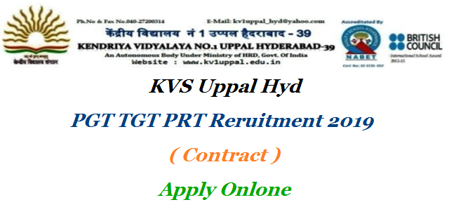 Kendriaya Vidyalaya Uppal Hyderabad PGT TGT PRT Computer Opertator Vacancies Apply Online for Interview Schedule Applications are invited from eligible candidates ONLINE for the post of contractual teachers/staff on purely contractual basis at this Kendriya Vidyalaya Uppal Hyderabad with consolidated pay for the academic year 2019-20 kvs-hyderabad-pgt-tgt-prt-recruitment-apply-online-kv1uppal.edu.in-details